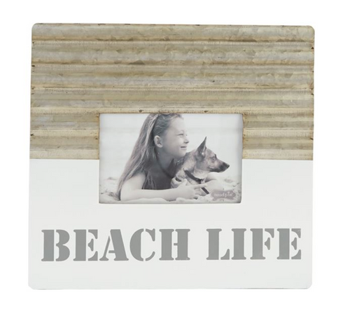 Beach Life Tin and White Enamel Picture Frame