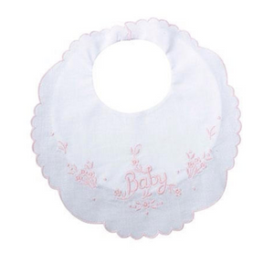 White Cotton Baby Bib with Pink Trim
