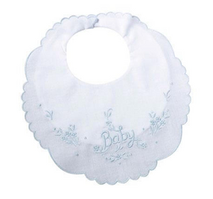 White Cotton Baby Bib with Blue Trim
