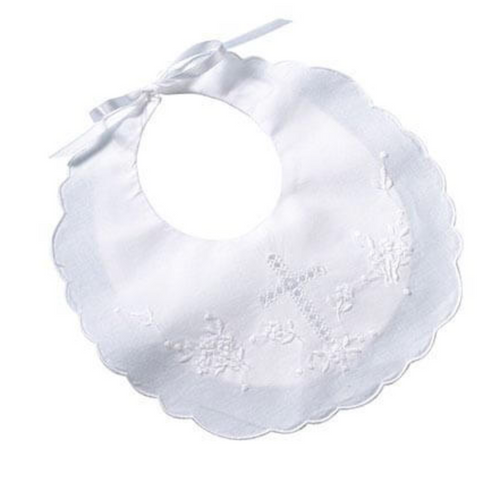 White Cotton Christening Baby Bib