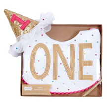 """ONE"" Bib & Party Hat Set"
