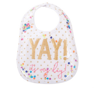 "Laminated ""Yay"" Sequin Bib"