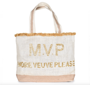 Veuve Please Beaded PomPom Tote Bag