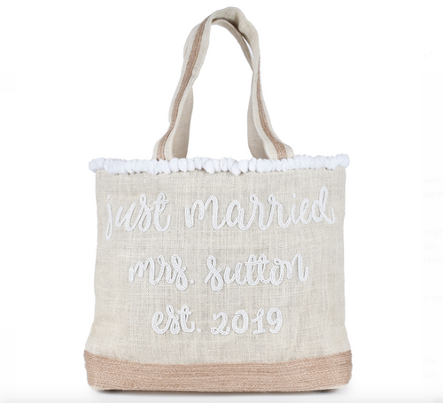 Just Married Honeymoon Beaded PomPom Tote