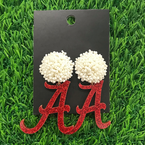 Alabama Crimson Glitter Acrylic A with White Beaded Top