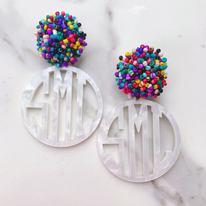 Circle Monogram Earrings with Beaded Top