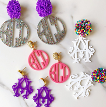 Heirloom 2 Letter Monogram Earrings with Beaded Top