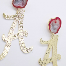 "Alabama Gold ""A"" Logo Earrings with Red Geode"