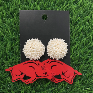 Arkansas Cardinal Red Acrylic Razorbacks with White Beaded Top