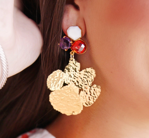 Clemson Gold Paw Earrings with 3 Gemstones