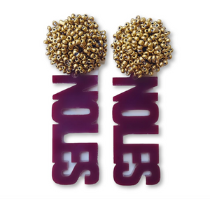"FSU Garnet Acrylic ""NOLES"" Earrings with Gold Beaded Top"