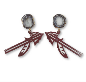 FSU Garnet Spear Earrings with Black Geode