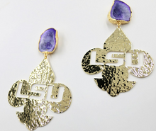 LSU Gold Fleur de Lis Logo Earrings with Purple Geode