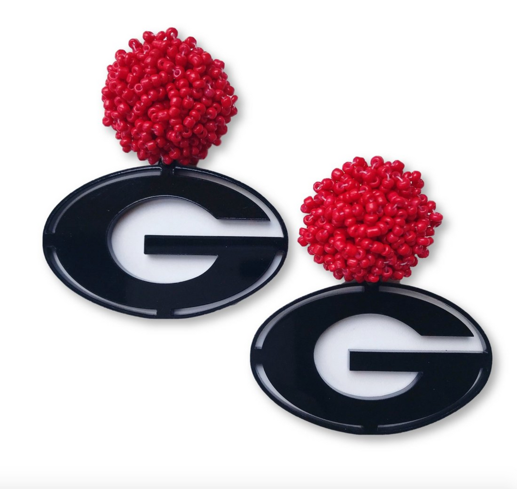 Georgia Black Acrylic Power G Earrings with Red Beaded Top
