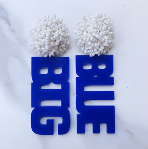 "Kentucky Blue Acrylic ""BIG BLUE"" Earrings with White Beaded Top Regular price"