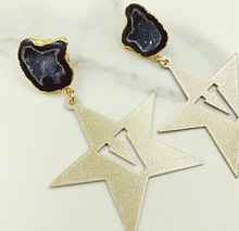 Vanderbilt Gold Tone Star Earrings with Black Geode
