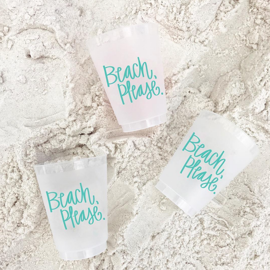 Beach Please Cups - Set of 10, 16oz.
