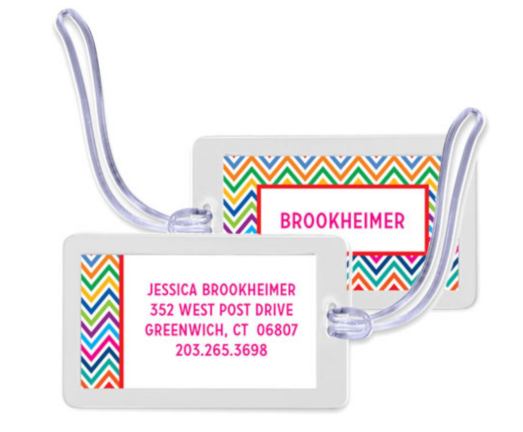 Bright Chevron Luggage Tag - Set of 4
