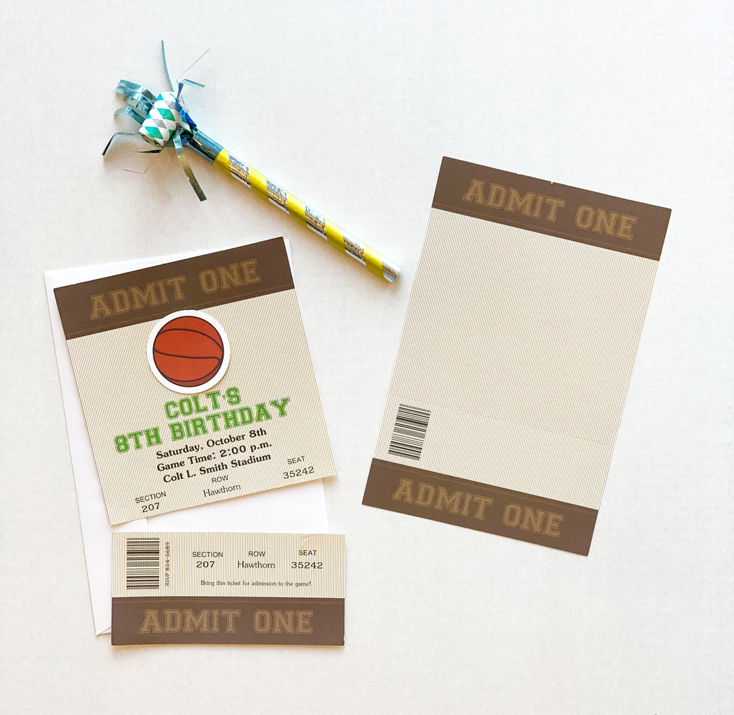 Sports Basketball Ticket Party Invitations