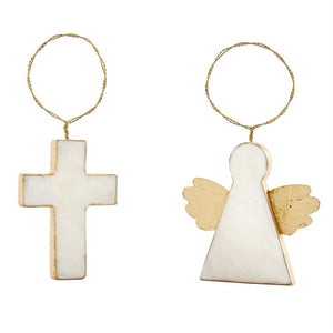 Cross & Angel Marble Ring Ornaments