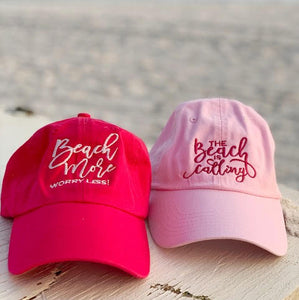 Beach more! Worry less! The Beach is Calling - Comfort Fit Ball Caps