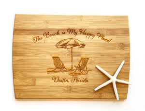 """The Beach is My Happy Place"" Destin, Florida - Large Cutting Board"