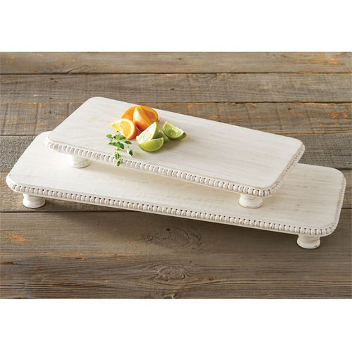 White-Washed Beaded Serving Board Set