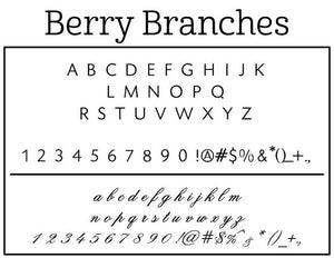 Berry Branches Family Name Rectangle Self-Inking Stamper or Hand Stamp