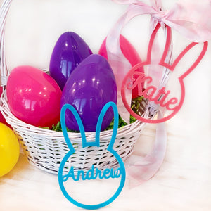 Acrylic Bunny Basket Name Tag