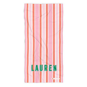 Capri Stripe Pink Beach Towel