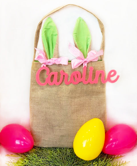 Burlap Bunny Bag with Acrylic Name Tag