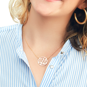Rimmed Cheshire Handcut Monogram Necklace