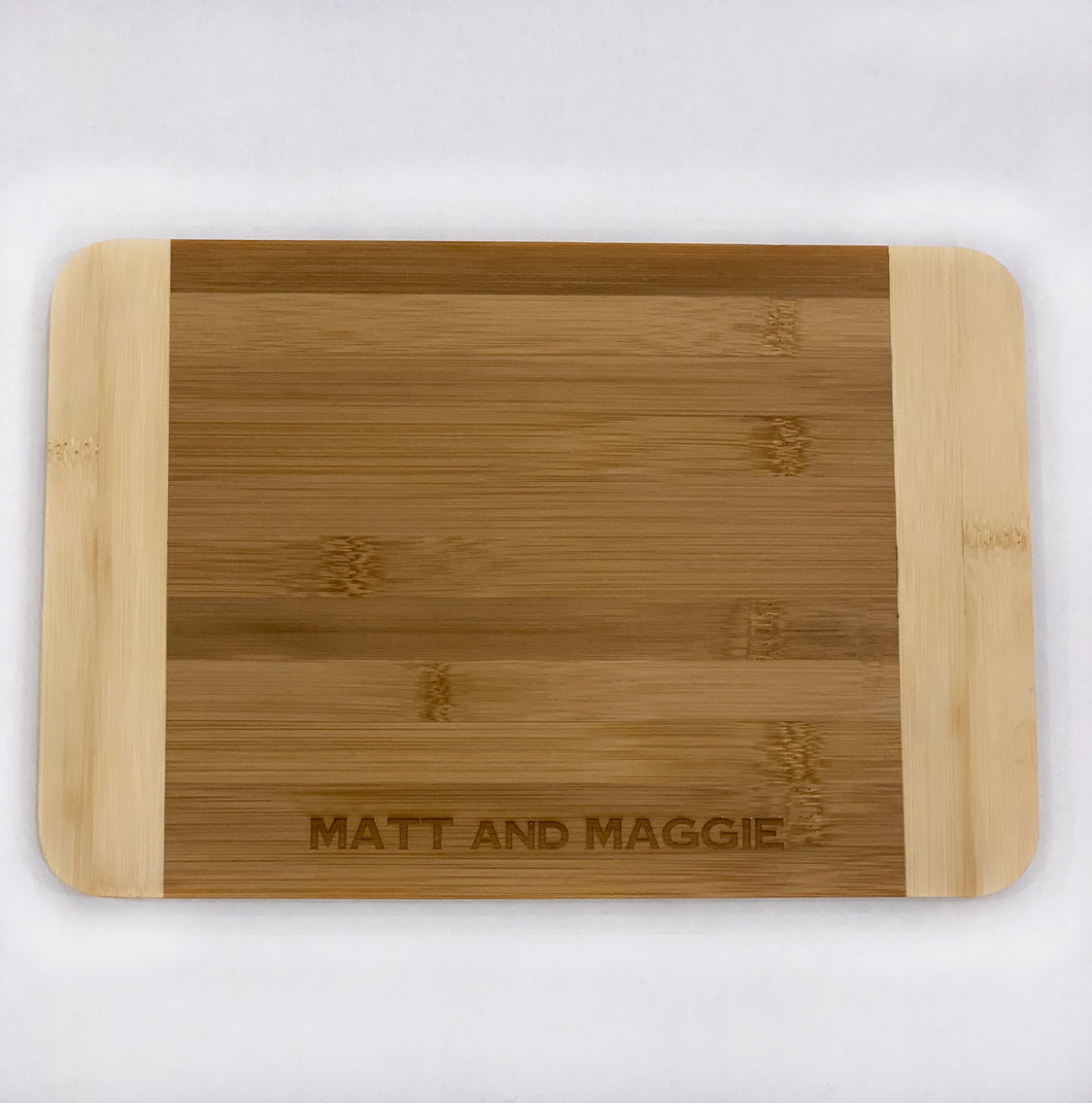 Two Tone Bamboo Cutting Board - Couples Design, Medium
