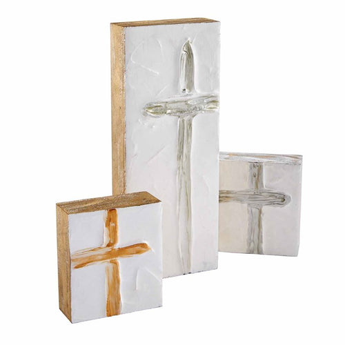 Hand-Painted Wood Block Cross Plaques