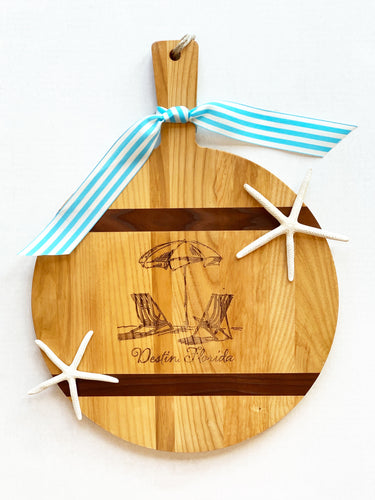Round Destin Florida Beach Cutting Board