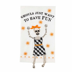 Ghouls Just Want to Have Fun Skeleton Dangle Towel