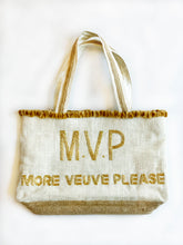 Veuve Please Gold Beaded Tote Bag