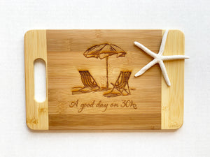 """A Good Day on 30A"" - Small Cutting Board with Grip Handle"