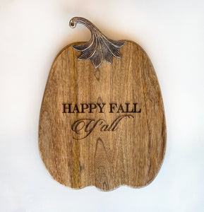 Happy Fall Y'all Pumpkin Tray with Thankful Knife