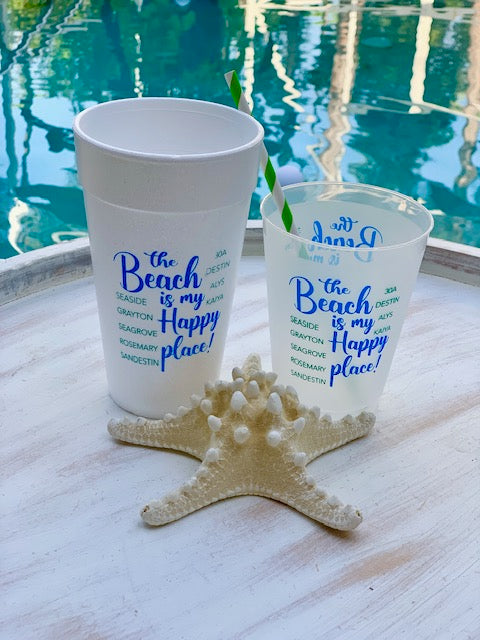 The Beach Is My Happy Place Foam Cups, 20oz
