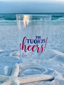 Cheers Family Name and Two Colors- 16 oz. Hard Plastic Cups