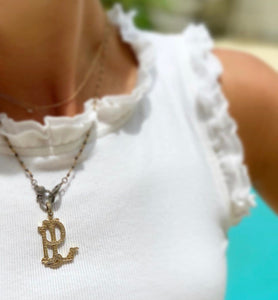 Pave Diamond Monogram; 14K Yellow Gold Vermeil