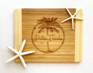 Destin, Florida with Palm Tree - Large Cutting Board