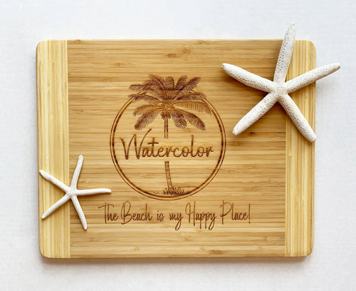 Watercolor, Florida Large Cutting Board with Palm Tree