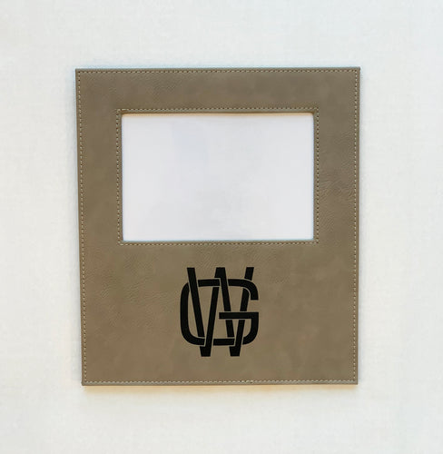 Suede Leather Picture Frame - Engraved with a Monogram