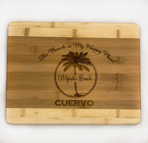 "Large Bamboo Two Tone Cutting Board - Personalized ""Beach Is My Happy Place"" with Name"