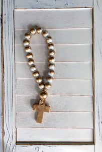 Petite Blue Blessing Beads - Cross