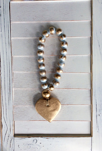 Petite Blue Blessing Beads - Heart