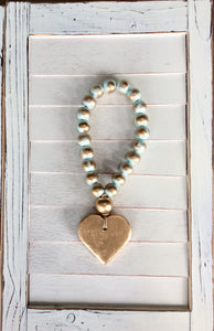 Petite Turquoise Blessing Beads - Heart