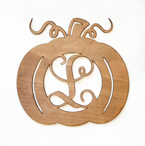 Monogrammed Pumpkin Wooden Sign